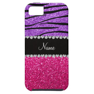 Custom name pink glitter pastel purple zebra strip iPhone 5 covers