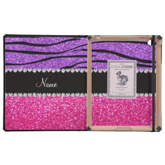 Custom name pink glitter pastel purple zebra strip iPad covers