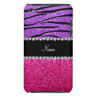 Custom name pink glitter pastel purple zebra strip barely there iPod cover
