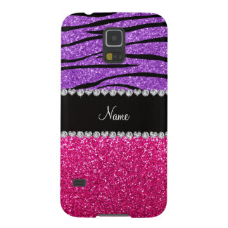 Custom name pink glitter pastel purple zebra strip galaxy s5 covers