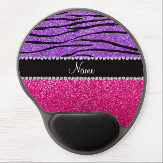 Custom name pink glitter pastel purple zebra strip gel mouse pad