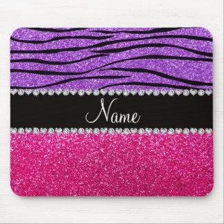 Custom name pink glitter pastel purple zebra strip mouse pad
