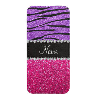 Custom name pink glitter pastel purple zebra strip