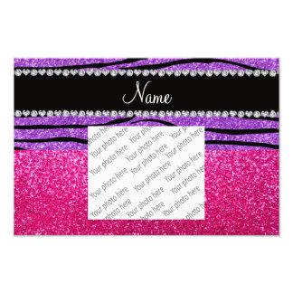 Custom name pink glitter pastel purple zebra strip photo