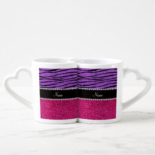 Custom name pink glitter pastel purple zebra strip lovers mug