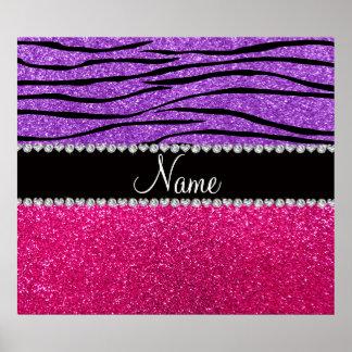 Custom name pink glitter pastel purple zebra strip print