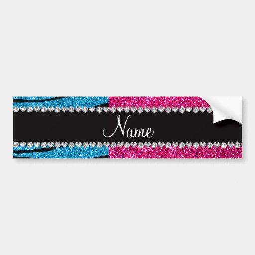 Custom name pink glitter sky blue zebra stripes bumper stickers