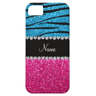 Custom name pink glitter sky blue zebra stripes iPhone 5 cover