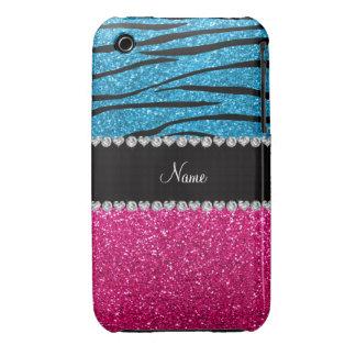Custom name pink glitter sky blue zebra stripes Case-Mate iPhone 3 cases