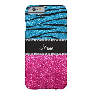 Custom name pink glitter sky blue zebra stripes barely there iPhone 6 case