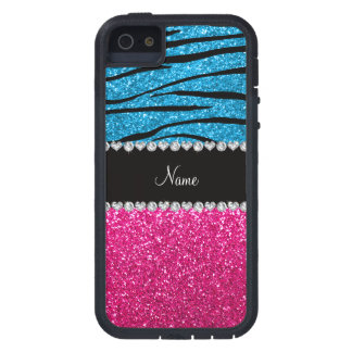 Custom name pink glitter sky blue zebra stripes iPhone 5 case