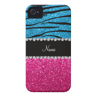 Custom name pink glitter sky blue zebra stripes iPhone 4 Case-Mate cases