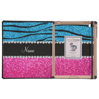 Custom name pink glitter sky blue zebra stripes covers for iPad