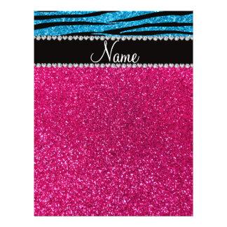 Custom name pink glitter sky blue zebra stripes full color flyer