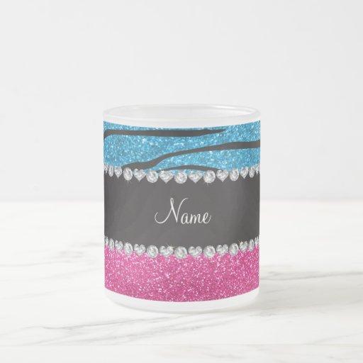 Custom name pink glitter sky blue zebra stripes mug