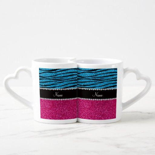 Custom name pink glitter sky blue zebra stripes couples mug