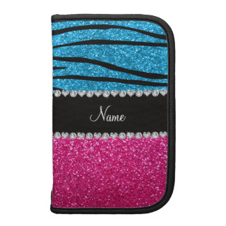 Custom name pink glitter sky blue zebra stripes planner