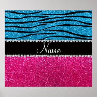 Custom name pink glitter sky blue zebra stripes posters