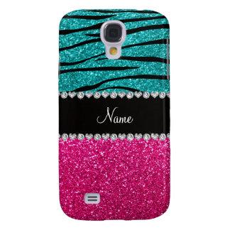 Custom name pink glitter turquoise zebra stripes samsung galaxy s4 cover