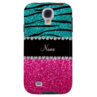 Custom name pink glitter turquoise zebra stripes galaxy s4 case