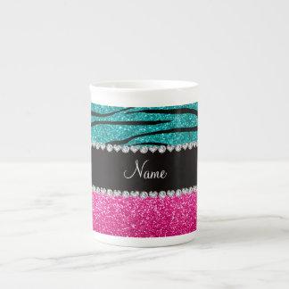 Custom name pink glitter turquoise zebra stripes bone china mug