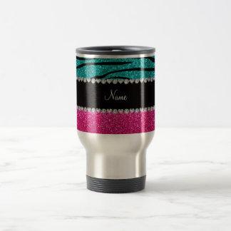 Custom name pink glitter turquoise zebra stripes mugs