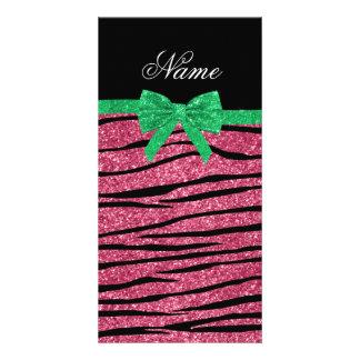 Custom name pink glitter zebra stripes green bow customized photo card