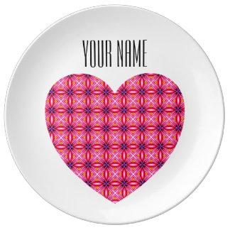 Custom Name Pink Heart Decorative Porcelain Plate