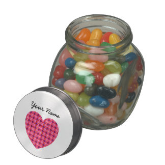 Custom Name Pink Heart Jelly Belly™ Glass Jar
