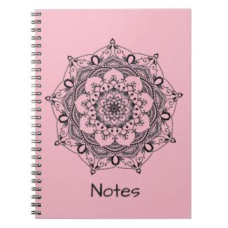 Custom Name Pink Henna Flower Mandala Notebook