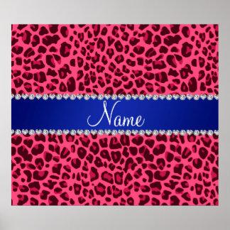 Custom name pink leopard print blue stripe