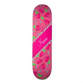 Custom name pink on pink cosmos limes skate board deck
