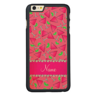 Custom name pink on pink cosmos limes carved® maple iPhone 6 plus case