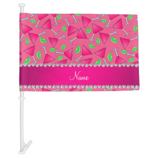 Custom name pink on pink cosmos limes car flag