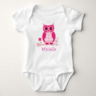 Custom Name Pink Owl Baby Nursery Gift Baby Bodysuit
