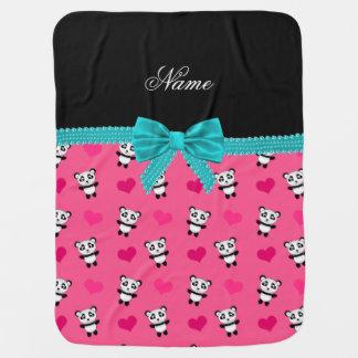 Custom name pink pandas hearts turquoise bow baby blanket