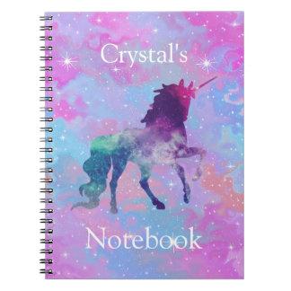 Custom Name Pink/Purple Galaxy Unicorn Notebook