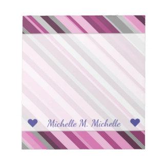 Custom Name + Pink/Purple/Grey Stripes Notepad