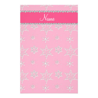 Custom name pink silver snowflakes pink stripe stationery design