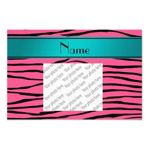 Custom name pink zebra stripes turquoise stripe photographic print