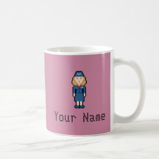 Custom Name Pixel Flight Attendant Coffee Mug