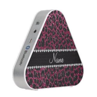 Custom name plum purple glitter leopard print speaker