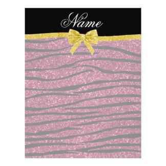 Custom name plum purple glitter zebra stripes bow full color flyer