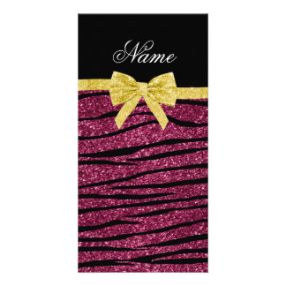 Custom name plum purple glitter zebra stripes bow photo cards