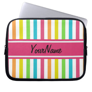 Custom Name Pretty Chic Stripes Pattern Computer Sleeves