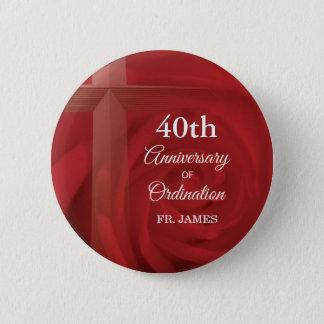 Custom Name Priest Anniversary Ordination Red Rose 6 Cm Round Badge