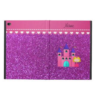 Custom name princess castle neon purple glitter