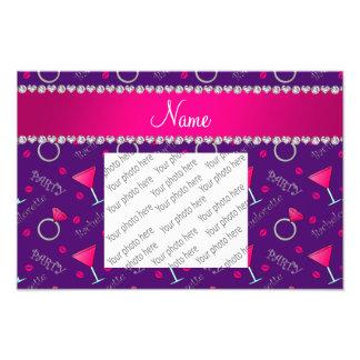 Custom name purple bachelorette cocktails rings photographic print