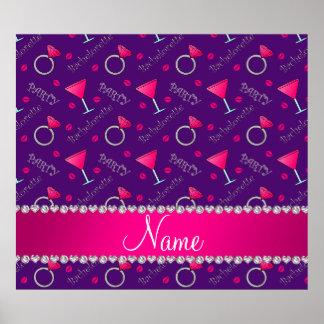 Custom name purple bachelorette cocktails rings poster