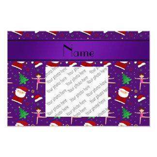 Custom name purple christmas gymnastics santas photo art